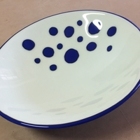 Glass Bowl - Dark Blue on Bone